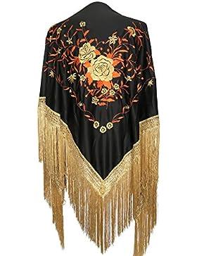 La Señorita Mantones bordados Flamenco Manton de Manila Grande negro oro naranja, flecos oro