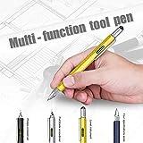 Super 6-in-1 Multifunction Pen Ruler, Spirit Level, Ballpoint Pen, Stylus, Flat Head or Phillips Screwdriver | Perfect Novelty Gift for Men (Yellow)