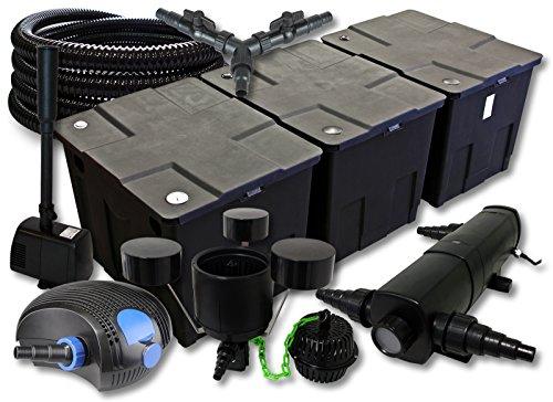 SunSun Filter Set 90000l Teich mit 36W Teichklärer 100W ECO Pumpe 25m Schlauch Skimmer Springbrunnen