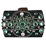 HOQTUM Abend Clutch Bag Handmade Black Emerald Retro Dinner Bag Damen Clutch Bag Damen Kette Umhängetasche Umhängetasche