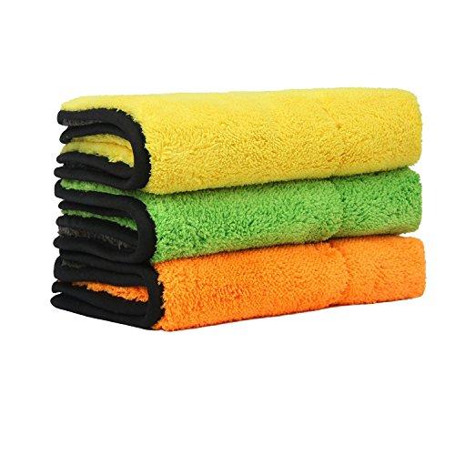 Preisvergleich Produktbild 3 Stück Mikrofaser Reinigungstücher mit Extrem Saugfähig, Microfasertuch Trockentuch Poliertücher für Auto Autopflege 38 x 45 cm