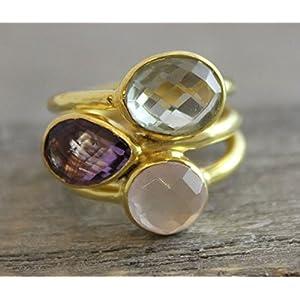 Prasiolith, Amethyst und Rosenquarz Gold plattiert Sterling Silber Ring US-Größe 9 / Diameter 19
