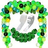 Olyee 120 Pièces Jungle Thème Fête Décorative Ballons Confettis Ballons et 20 Pièces Tropical Palmier Feuilles avec Ballon Arc Guirlande Décoration Bande Kit pour Tropical Jungle Animal Fêtes