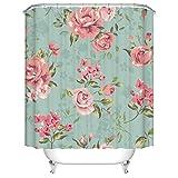 Badezimmer Duschvorhang, Top Qualität Anti-Schimmel Duschvorhänge Digitaldruck inkl. 12 Duschvorhangringe, 180x180cm (Rosa Rose Blume mit Blättern)