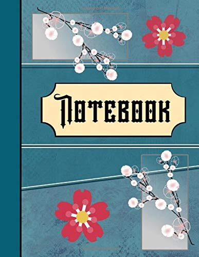 Notebook: Oriental Blossom Blue Style Writing Gift - Lined NOTEBOOK, 130 pages, 8.5