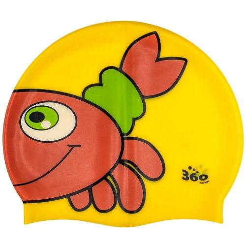 new-360-junior-fun-swim-silicone-pool-cap-kids-swimming-hat-kit-kat-crab