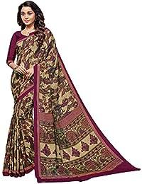 Salwar Studio Women's Wine & Beige Crape Silk Floral, Paisley Printed Saree With Blouse Piece-HERITAGE-SILK-34620