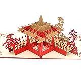 Medigy 3D POP UP Grußkarte Handgemacht Blume Korbp Suzhou Gärten Blanko-Karten Segen Papier Klappkarten Business Geschenkkarte Glückwunschkarten