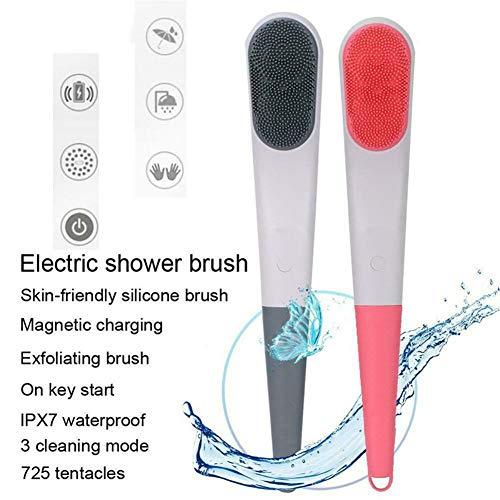Kardätsche USB Elektro Bad Rotation, SPA Massage Dusche Bürste, Zurück Reinigungsbürste, Handheld, Aufhängen Design-Leicht zu reinigen, Can Be hängt an der Wand,Grau