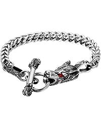 5367b63ff735 Cupimatch Armband Herren Edelstahl Wolf Kopf Arm Kette Armreif Gothic  Vintage 22cm Motorradarmband für Jungen…