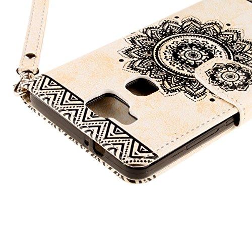 Coque Etui pour Huawei Mate 7,Huawei Mate 7 Housse en PU Cuir,Ekakashop Élégant Fermeture Magnetique Portefeuille Coque Wallet Folio Flip Case Smart Cover Swag Skin Shell de Protection Protecteur Stan Blanc