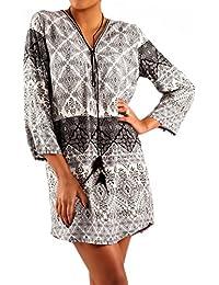 Damen Hippie Minikleid Oversize Tunika Long-Shirt Zipper V-Ausschnitt Strandtunika