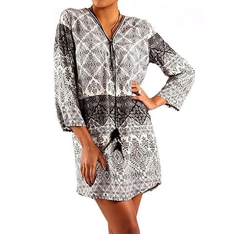 Damen Hippie Minikleid Oversize Tunika Long-Shirt Zipper V-Ausschnitt Strandtunika (XL/XXL,