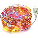 LTETTES 10M 100LED Multicolor - RED,Green,Blue,Yellow USB Powered Copper Wire LED Decorative Fairy String Lights, Decoration DIY Wedding Party Festival