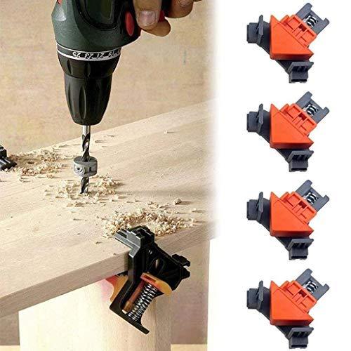 Luccase Eckklemmen Kit mit 8 Klemmenabdeckung Eckverbindungs Klemmen Holz Bearbeitungs Suchgerät 5-22 mm für Positionierung Eckklemmen, 4 Stück / Set, Schwarz