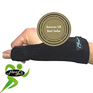 Supporto pollice (singolo) metal Spica Splint non-sweat by 4DFLEXISPORT – The Ultimate in ipoallergenico non-rash comfort. Reversibile destra o sinistra one-easy-size Fit. Unisex.