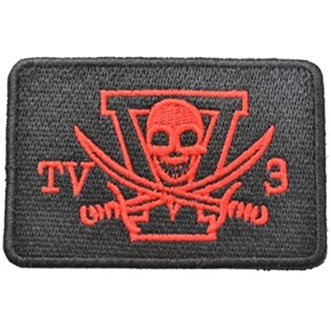 Navy Seals TV3. Croce Spada cranio Velcro Patch emblema Black & Red - Croce Rossa Emblema