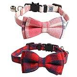 Imikoko Katzenhalsbänder/Hundehalsband, 2 Stücke Katze Halsband Verstellbare Hundehalsband mit Fliege Halstuch und Glocke für Kleine Hund, Welpen, Katze, Haustier einstellbar von 7.8-10.5 Zoll