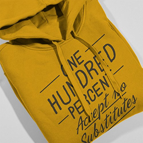 Mambo Accept No Substitutes Grey Text Men's Hooded Sweatshirt Gold