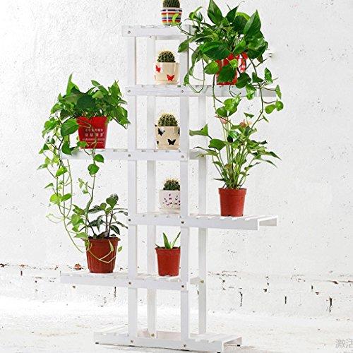 Massivholz Blume Rack 6 Tier von Asymmetrischen Hölzernen Blumentöpfe Rack Wohnzimmer Balkon Lagerung Regal (3 Farben) (Farbe : C) (6-tier-bücherregal)