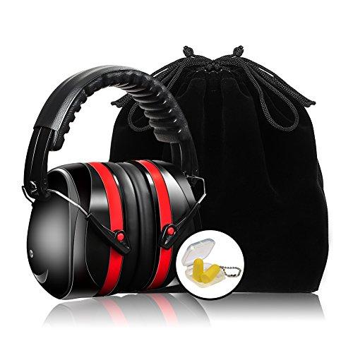 Kapselgehörschützer SNR 35 dB, Ear Muffs Headband,Sicherheit Ohrenschützer mit gepolsterter Kopfbügel, Faltbare Verstellbare Gehörschutz mit Weichschaum für Erwachsene und Kinder, Schwarz+Rot (Tasche Samt Gepolsterte)