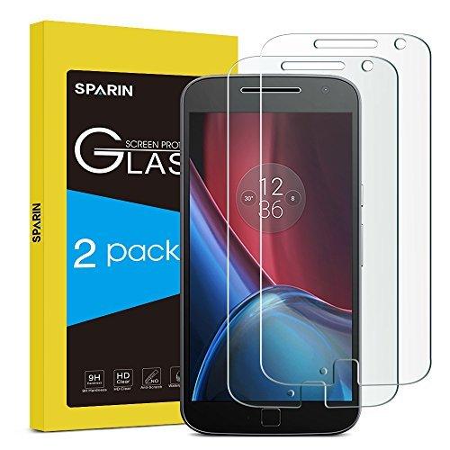 [2pak] moto G4Plus Protector de pantalla [no apta para moto G4y G4Play], Sparin [vidrio templado] [sin burbujas] [dureza de 9H] [resistente a los arañazos] Protector de pantalla para Moto G4Plus