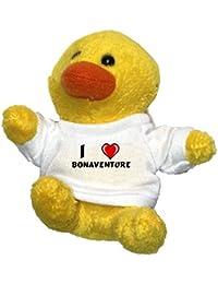 Pollo de peluche (llavero) con Amo Bonaventure en la camiseta (nombre de pila/apellido/apodo)
