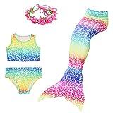 Superstar88 Mädchen Cosplay Kostüm Badebekleidung Meerjungfrau Shell Badeanzug 3pcs Bikini Sets mit einer Flosse und einer Kränze Tolle Geschenksidee ! (120, Symphonie der kindheit)