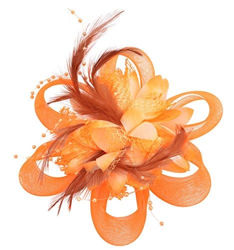 Fascigirl Chapeau de Cérémonie Bibi Chapeau Voilette Mariage Fleur Cheveux pour Femme Orange