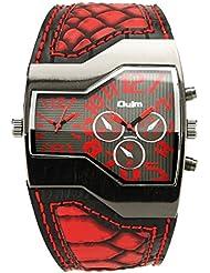 Moda personalizada doble zona horaria pantalla cuarzo reloj deportivo reloj de pulsera militar cuero correa para la muñeca para los hombres rojo