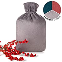 Blumtal Hot Water Bottle with Cover; Super Soft Fleece Cover; Large 1.8L Capacity (Dark Grey)