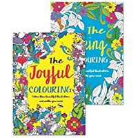 Bargain Gateway Adult Relaxing A4 Colour Therapy 2 Pack Ideal Gift Set - Joyful/Spring Colouring Books
