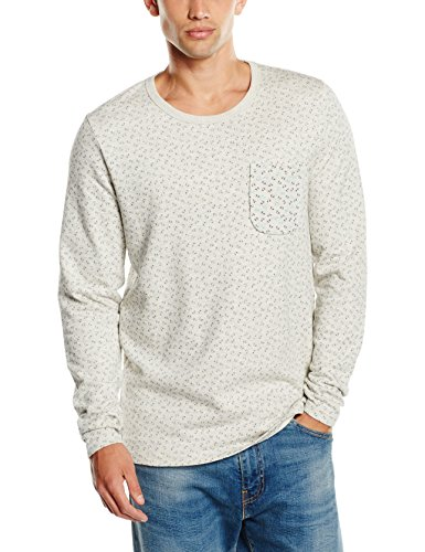 JACK & JONES Herren Sweatshirt Jjorbird Sweat Crew Neck Grau (Treated White Fit:SLIM)