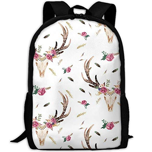 TRFashion Stylish Flowers Boho Aztec Beauty Floral Laptop Backpack School Backpack Bookbags College Bags Daypack Black Casual Leisure Backpack Swagger Bags Rucksack
