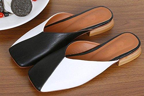 Baotou printemps et en été des femmes bouche peu profonde occasionnels chaussures à talons bas épais paresseux avec sandales femmes de couleur du parti et des chaussons black and white
