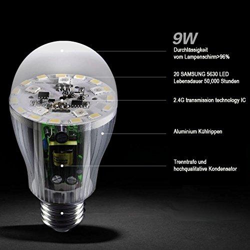 1x WLAN LED Lampe original MILIGHT® Color RGB + Warm Weiß, 9W, E27, dimmbar Glühbirne