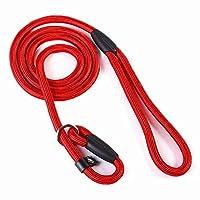 Luniquz Laisse pour Chien Laisse de Dressage Collier Chien en Nylon Corde Réglable (Rouge)