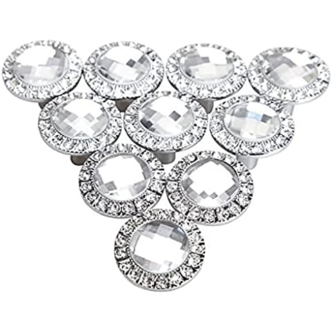 Gosear - 10 piezas Manillones Pomos y Tiradores / Perillas para Armario de Cocina Gabinete de Cajón de Puerta Manija(Redondo Diamantes de Cristal Brillante