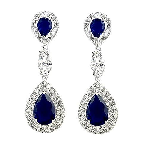 SELOVO Silver Tone Blue Sapphire Color Austrian Crystal Zircon CZ Chandelier Dangle Drop Earrings