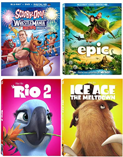 Jumbo Kids Cartoon Movie pack Rio 2 / Ice Age Meltdown / Epic/ Scooby-Doo Wrestlemania Mystery (4 Blu Ray bundle)