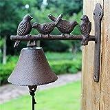 Rústico de Hierro Fundido Timbre Estilo americano Animal Metal Timbre Retro Pájaros Montaje en pared Puerta Timbre de llamada for el jardín de la casa exterior patio Craft colgante Campana para Puerta