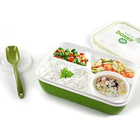 Magic Kitchen Sealed Microwaveable Lunch box 3 plus 1 bento box For kids children School Office with simplicity fresh style (Green) by Unknown