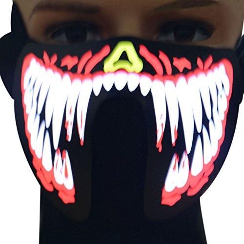 ske–NEUE Gesicht Maske Stimme Control Light Up Flashing Luminous für Halloween Party Kostüm Dekoration winddicht Radfahren Maske Ski Maske, fg-ma-04 (Gruppen Von 4 Halloween Kostüme)