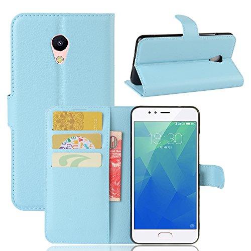 WolinTek Custodia Meizu M5S, Cover a libro in simil pelle con Funzione di Appoggio Posteriore Flip Wallet Case per Meizu M5S,blu