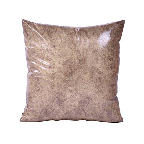 Quanjucheer ecopelle cuscino di tiro retro protezioni divano letto cuscino home auto decor, similpelle, khaki, 45 cm x 45 cm
