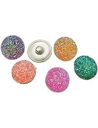 Souarts Mixte Résine Rond Multicolore Bouton à Pression pour Bracelet Lot de 10pcs
