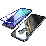 Coollee Samsung Galaxy S9 Magnetic Adsorption Case, Clear Tempered Glass Hard Back Cover [With Built-In Magnets Metal Bumper Frame] Support Wireless Charge,360° Full Protection Ultra Slim Shockproof Case for Samsung Galaxy S9, Bleu