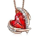 CDE - Collar con colgante de corazón de ángel rojo de 18 K y oro blanco de 18 quilates con cristales de Swarovski, joyería para mujer, regalo para mujeres, día de San Valentín, día de la madre