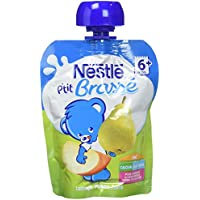 Nestlé Bébé P'tit Brassé Pomme Poire - Laitage dès 6 mois - 1 gourde 90g - Lot de 16