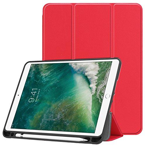 Esories für iPad 9.7 2018 Hülle mit Stifthalter, PU Leder Schutzhülle Flip Case Tasche für iPad 9.7 2017 iPad 9.7 2018 iPad Air 2 iPad Air mit Ständerfunktion Auto Schlaf/Wach -